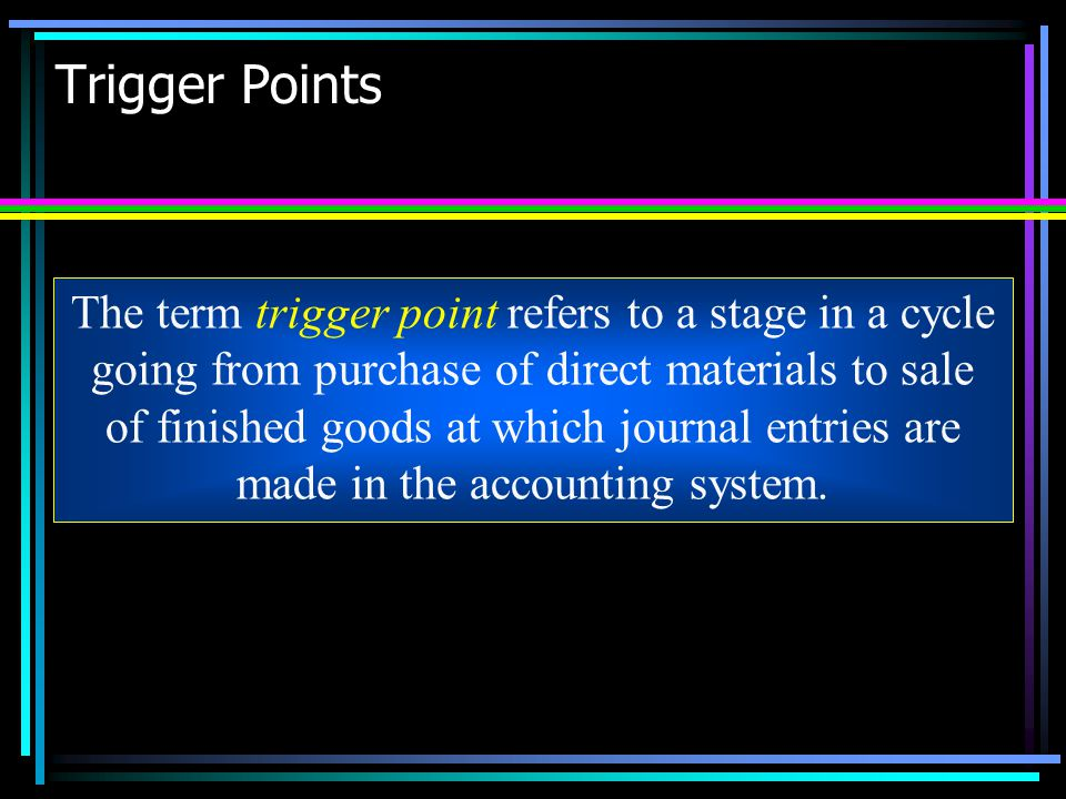 Trigger Points The term trigger point refers to a stage in a cycle