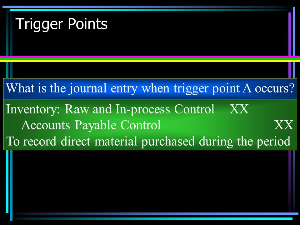 What is the journal entry when trigger point A occurs