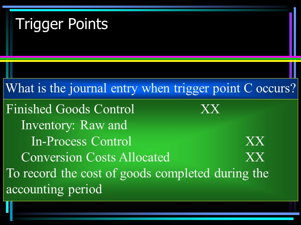What is the journal entry when trigger point C occurs