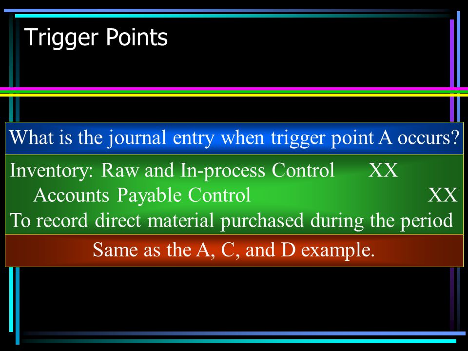 Trigger Points What is the journal entry when trigger point A occurs