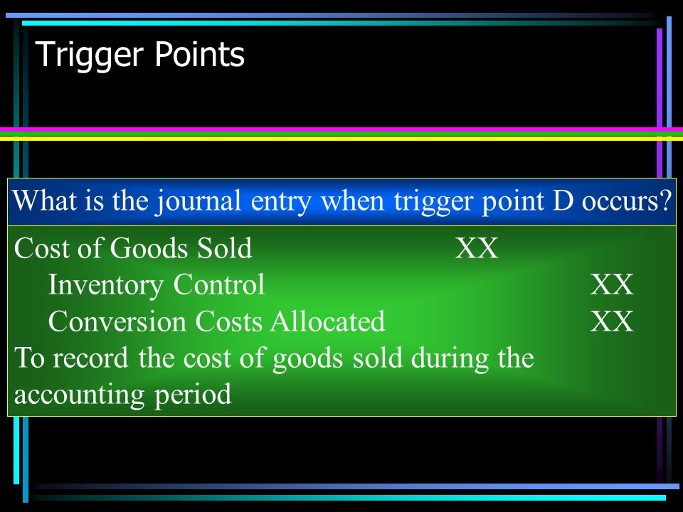 What is the journal entry when trigger point D occurs
