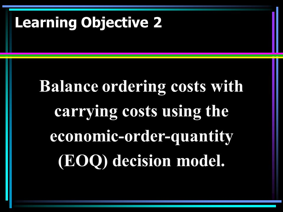 Balance ordering costs with carrying costs using the