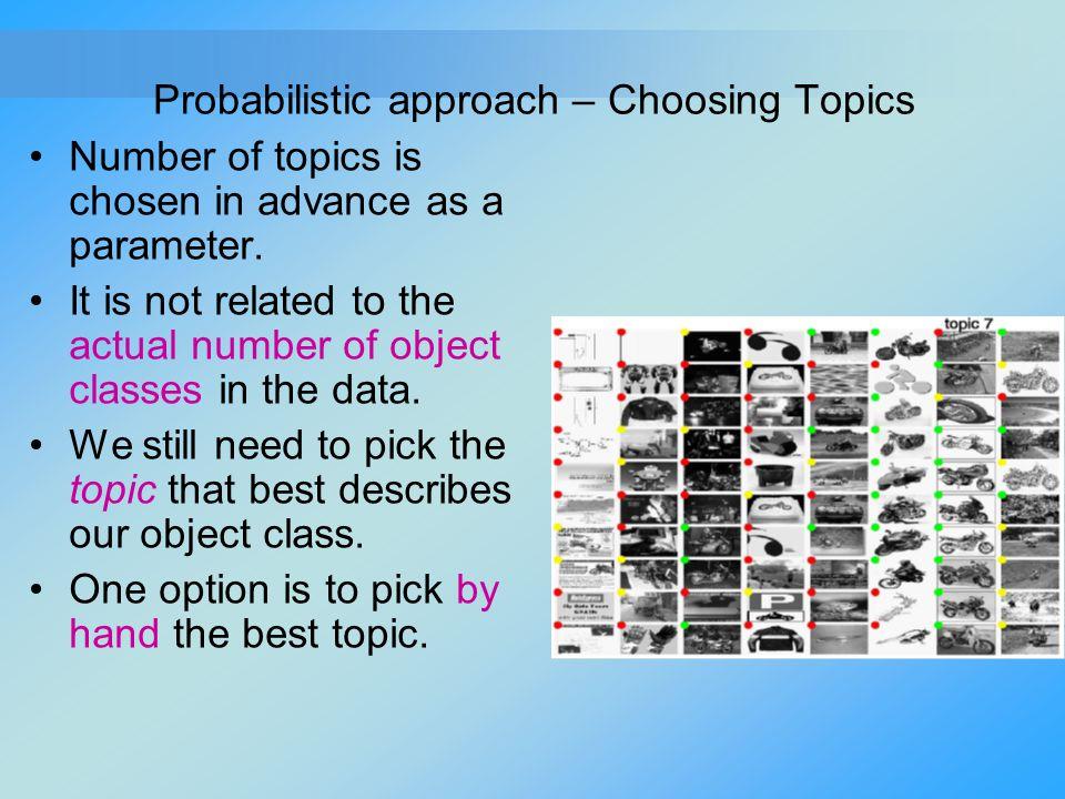 Probabilistic approach – Choosing Topics