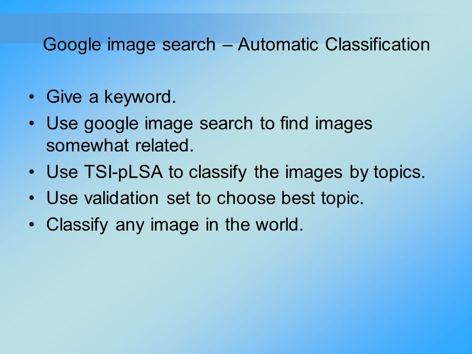 Google image search – Automatic Classification