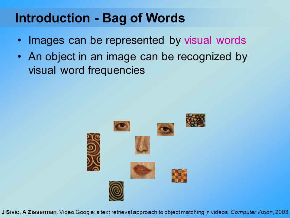 Introduction - Bag of Words Images can be represented by visual words