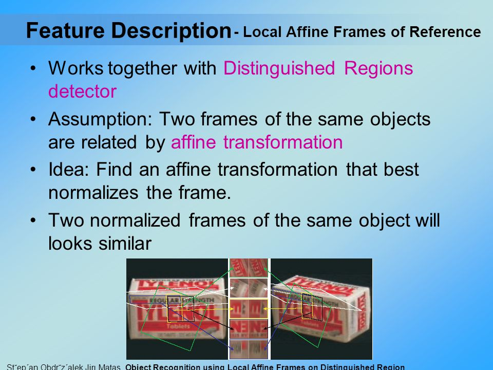 Feature Description Works together with Distinguished Regions detector