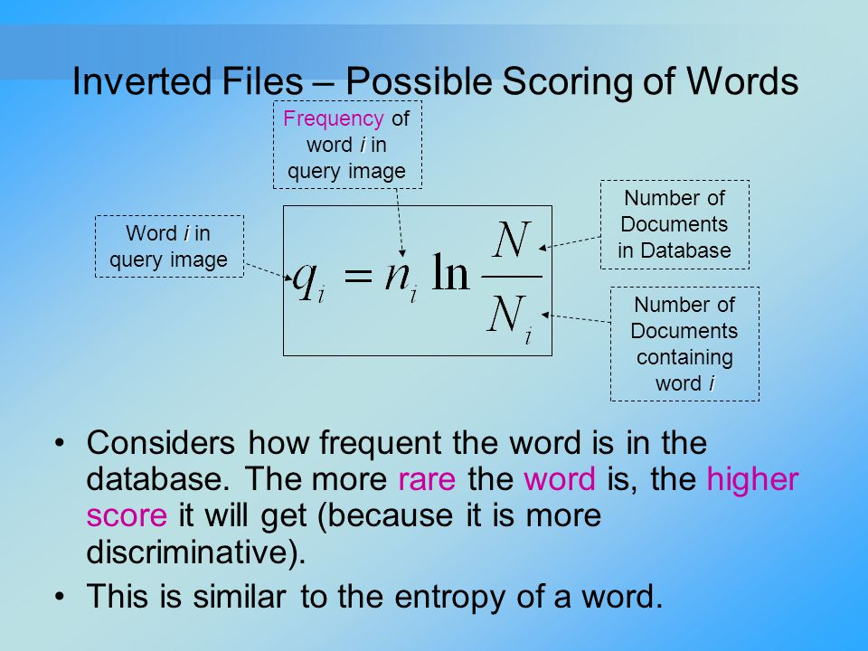 Inverted Files – Possible Scoring of Words