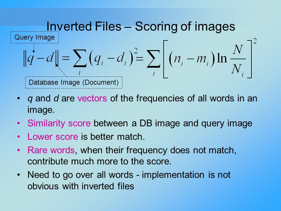 Inverted Files – Scoring of images