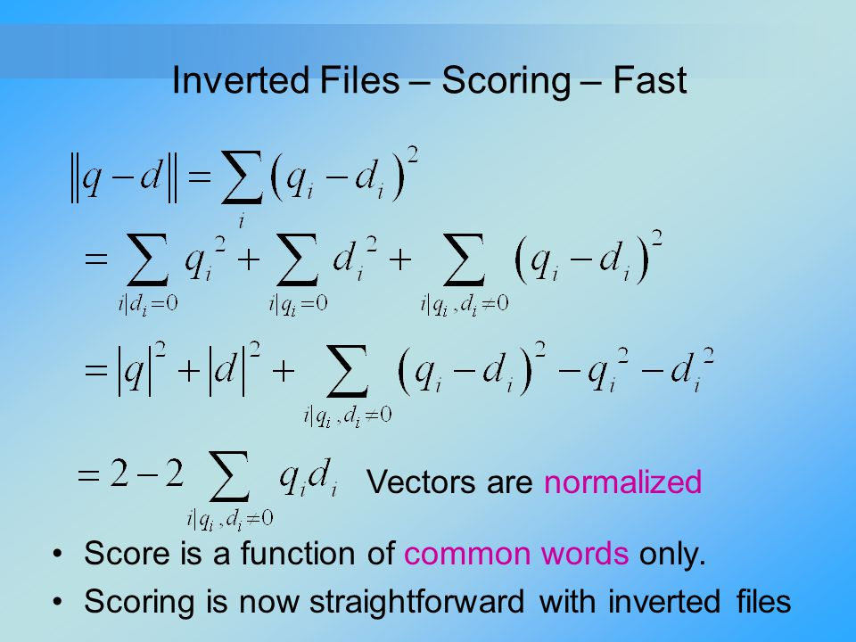Inverted Files – Scoring – Fast