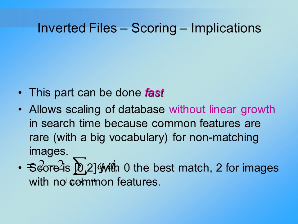 Inverted Files – Scoring – Implications