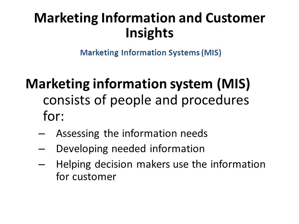 Marketing Information and Customer Insights