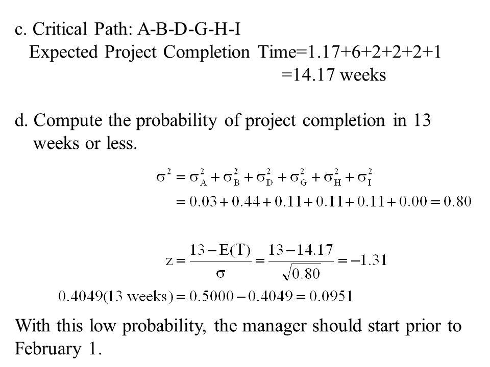c. Critical Path: A-B-D-G-H-I