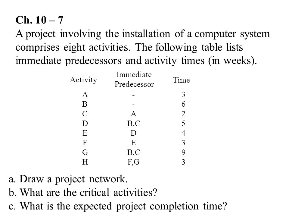 What are the critical activities