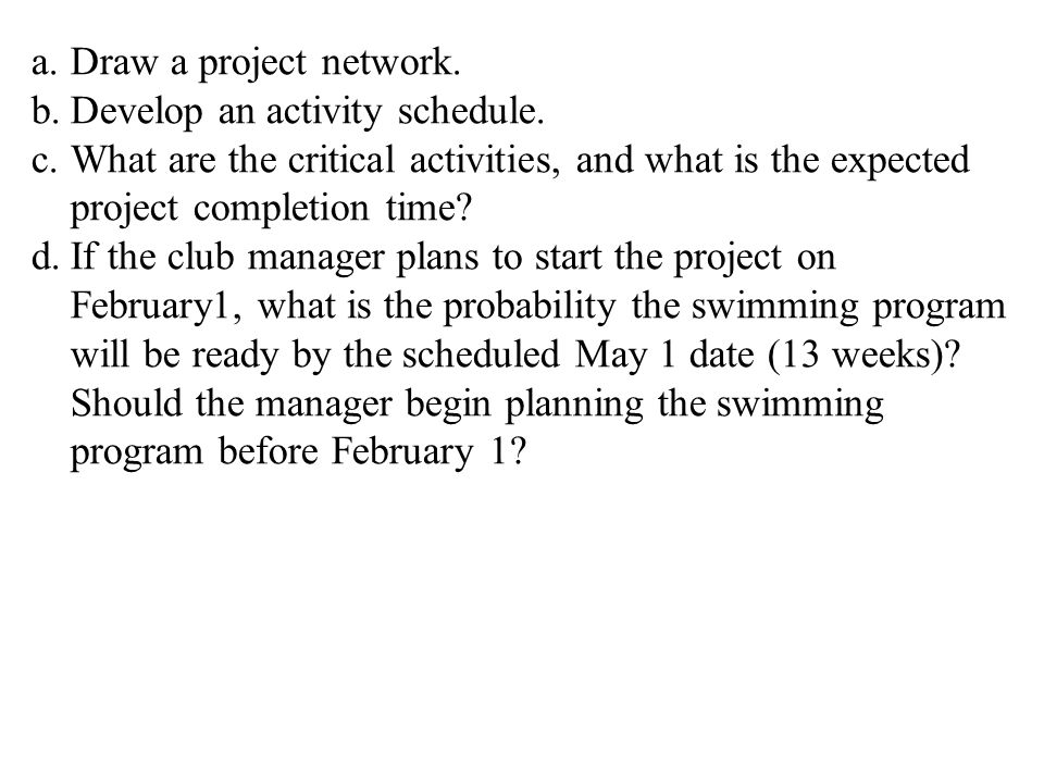 Draw a project network. Develop an activity schedule. What are the critical activities, and what is the expected project completion time