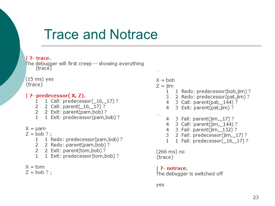 Trace and Notrace | - trace.
