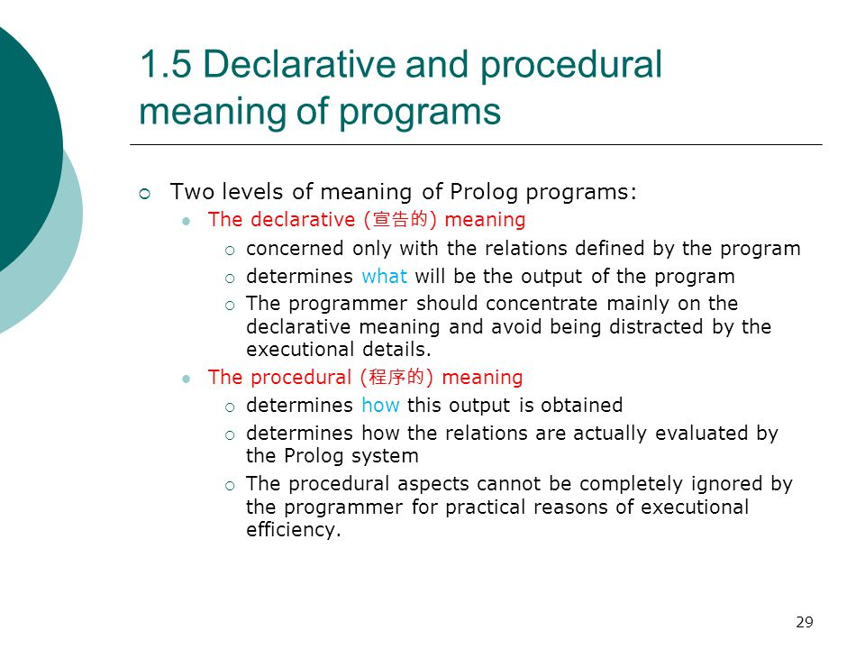 1.5 Declarative and procedural meaning of programs
