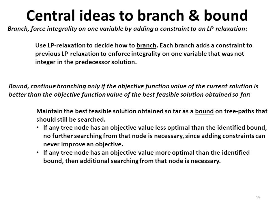 Central ideas to branch & bound