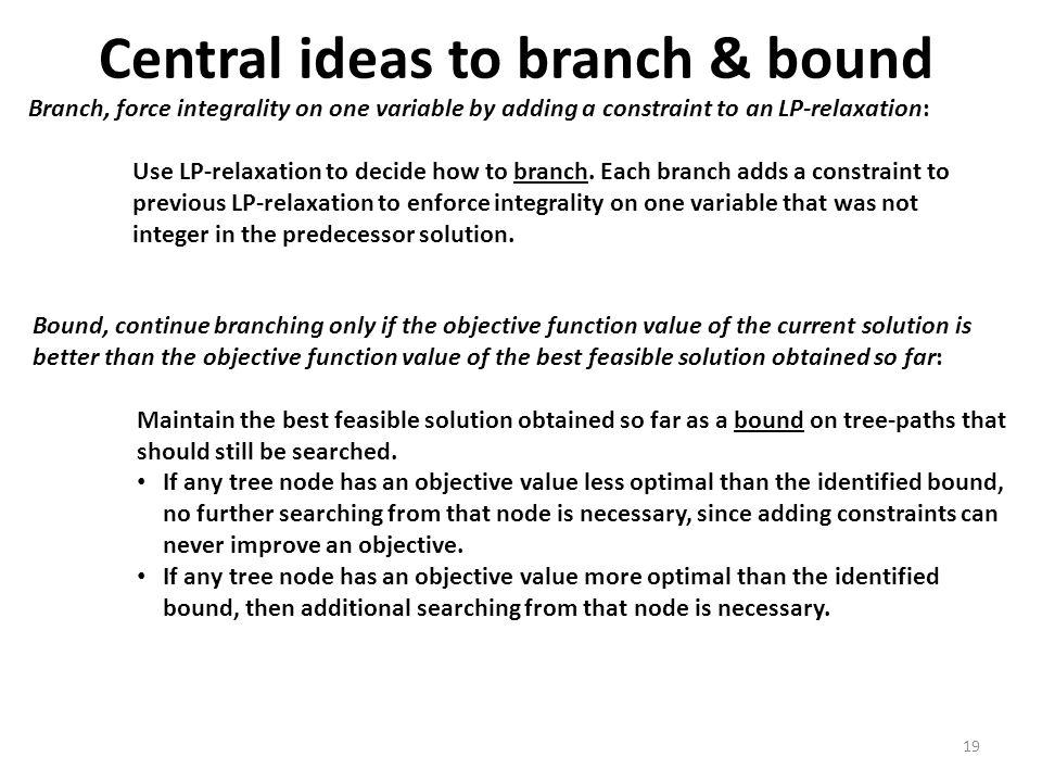 Central ideas to branch & bound