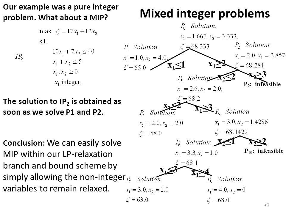 Mixed integer problems