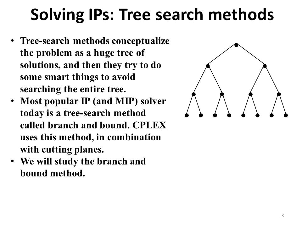 Solving IPs: Tree search methods