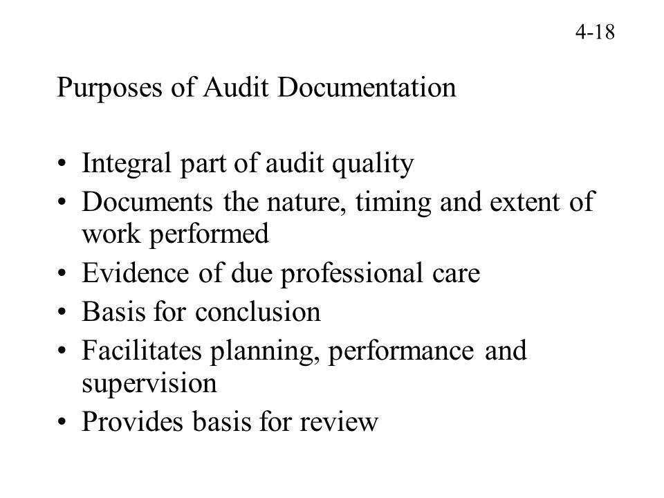 Purposes of Audit Documentation
