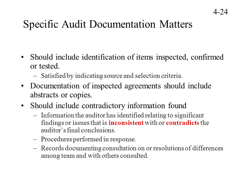 Specific Audit Documentation Matters
