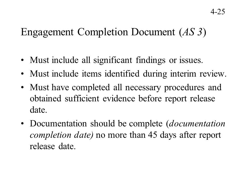Engagement Completion Document (AS 3)