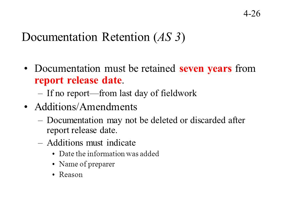 Documentation Retention (AS 3)