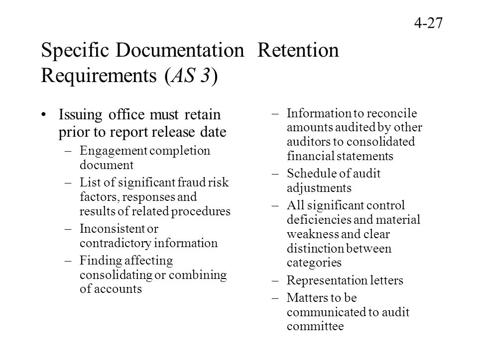 Specific Documentation Retention Requirements (AS 3)