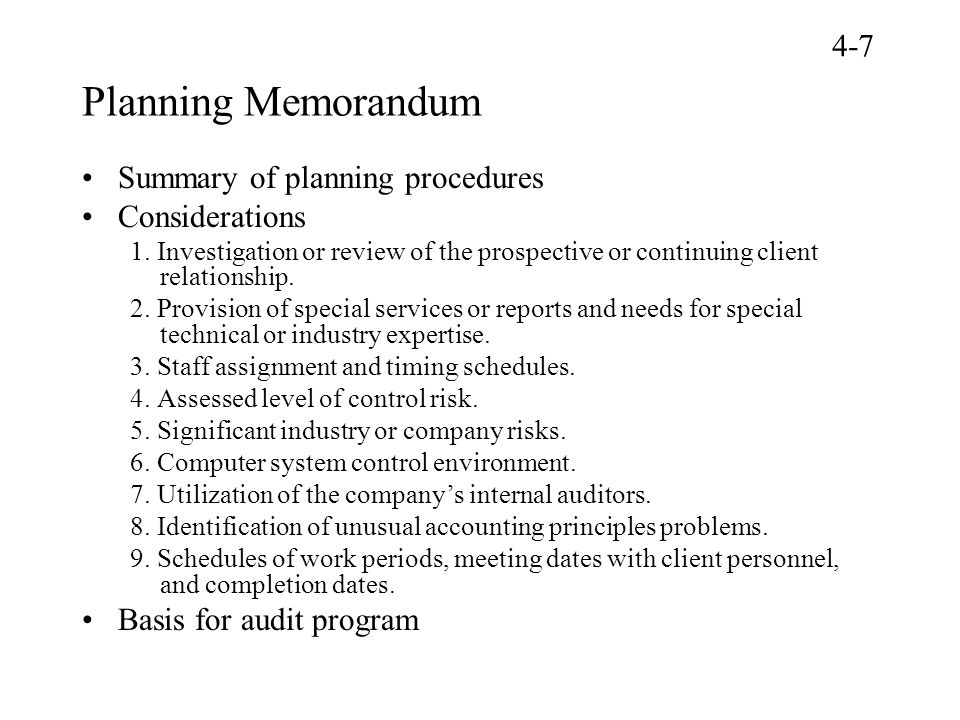 Planning Memorandum 4-7 Summary of planning procedures Considerations