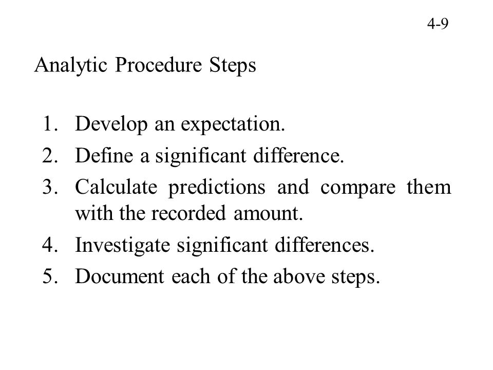 Analytic Procedure Steps