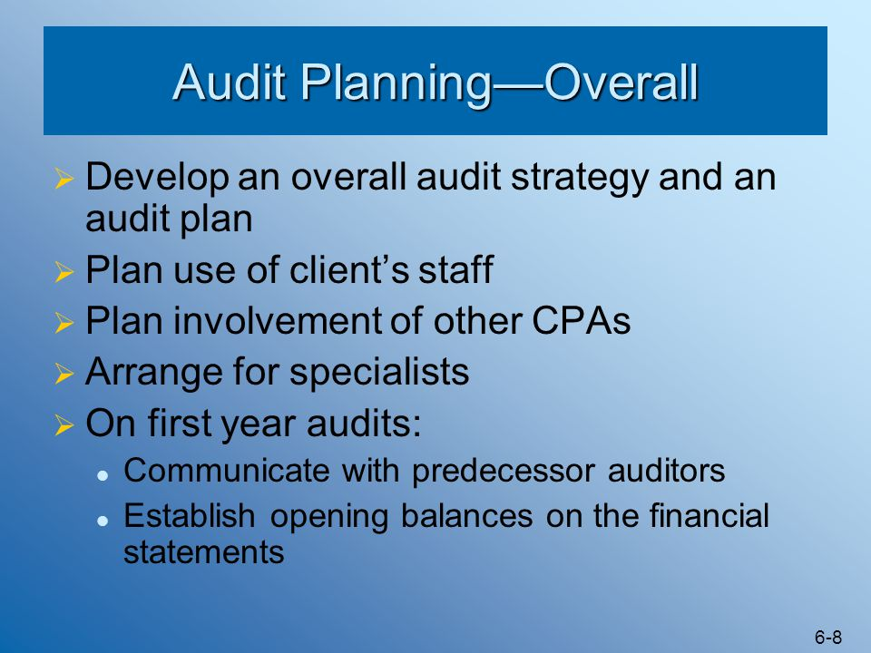 Audit Planning—Overall