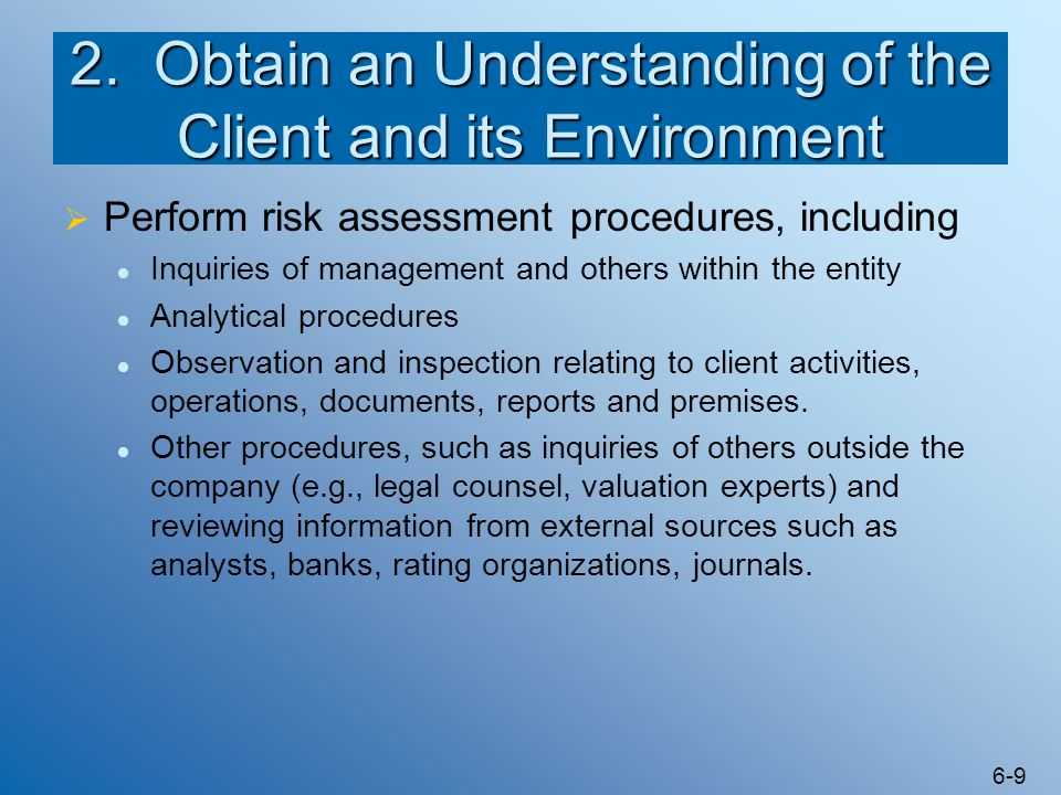 2. Obtain an Understanding of the Client and its Environment