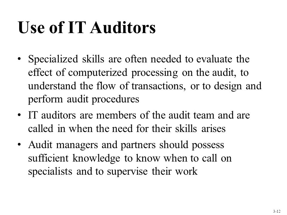 Use of IT Auditors