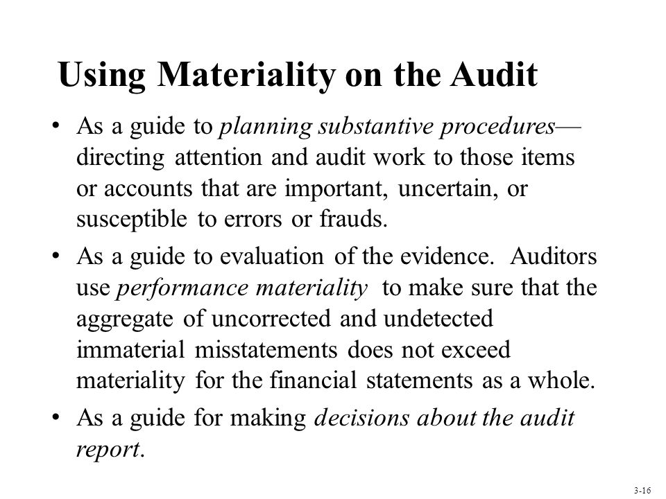 Using Materiality on the Audit