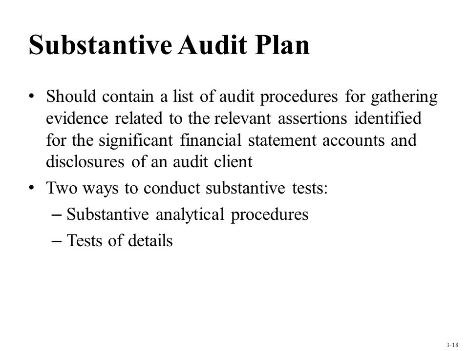 Substantive Audit Plan