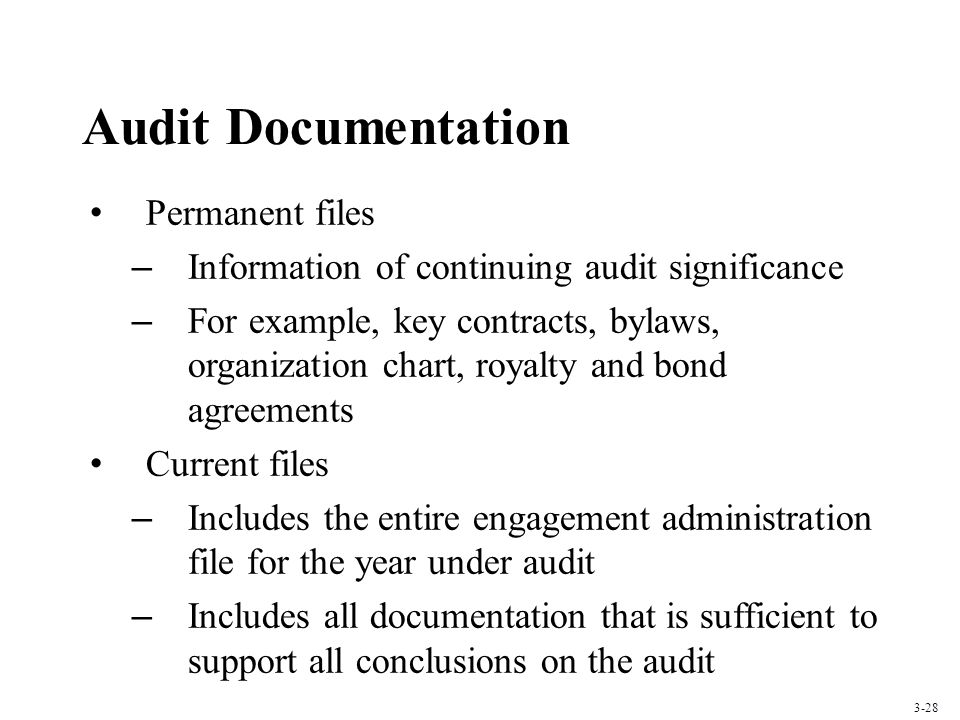 Audit Documentation Permanent files