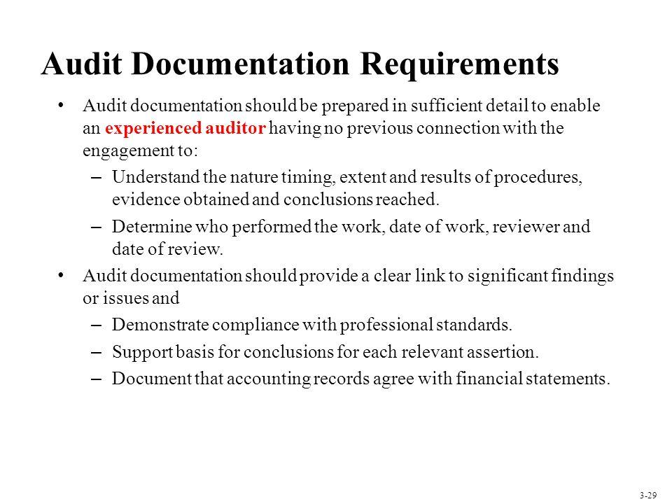 Audit Documentation Requirements