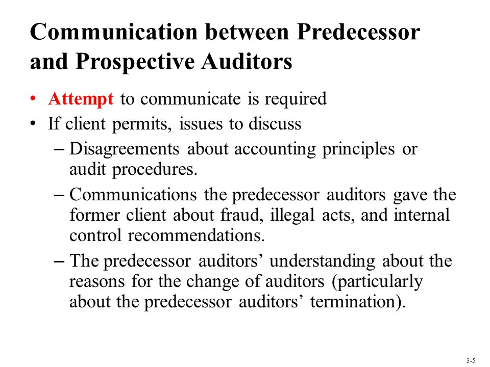 Communication between Predecessor and Prospective Auditors