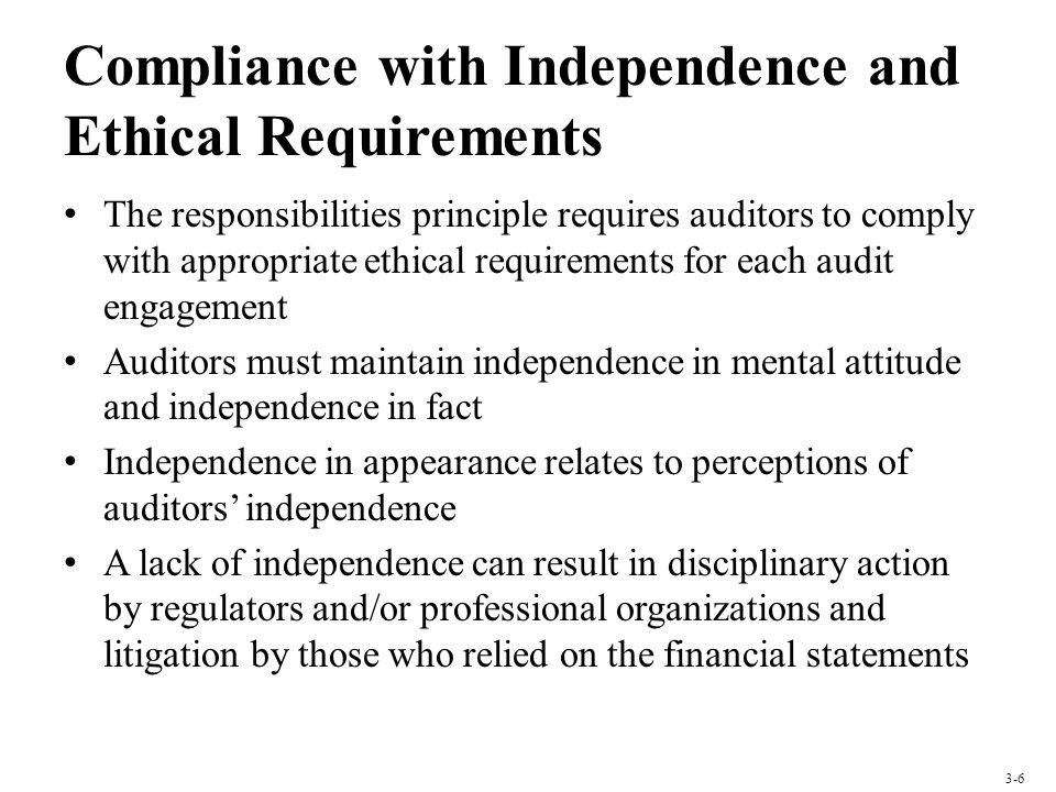 Compliance with Independence and Ethical Requirements