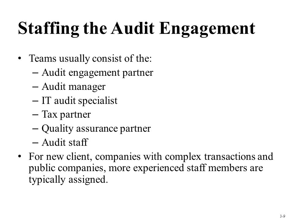 Staffing the Audit Engagement