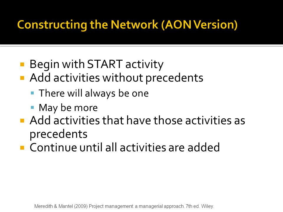 Constructing the Network (AON Version)