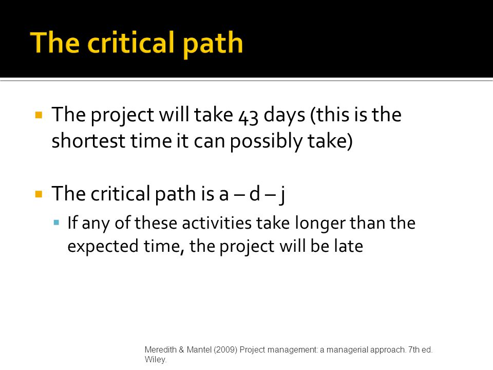 The critical path The project will take 43 days (this is the shortest time it can possibly take) The critical path is a – d – j.