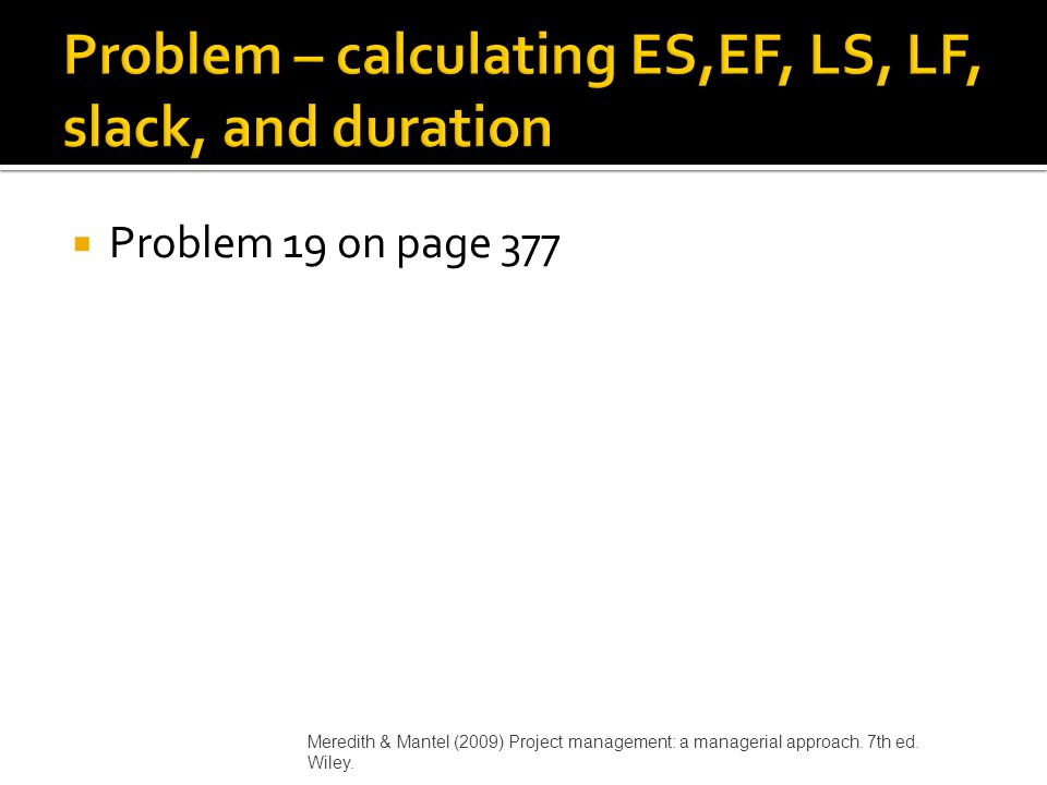 Problem – calculating ES,EF, LS, LF, slack, and duration