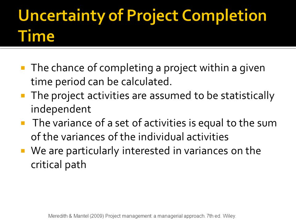 Uncertainty of Project Completion Time