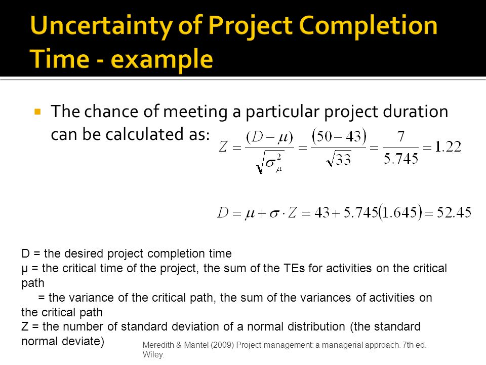 Uncertainty of Project Completion Time - example