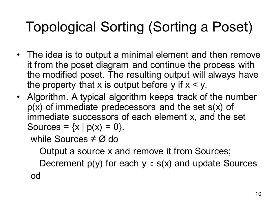 Topological Sorting (Sorting a Poset)