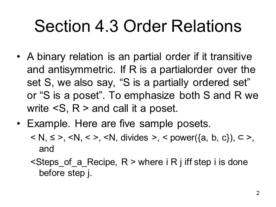 Section 4.3 Order Relations
