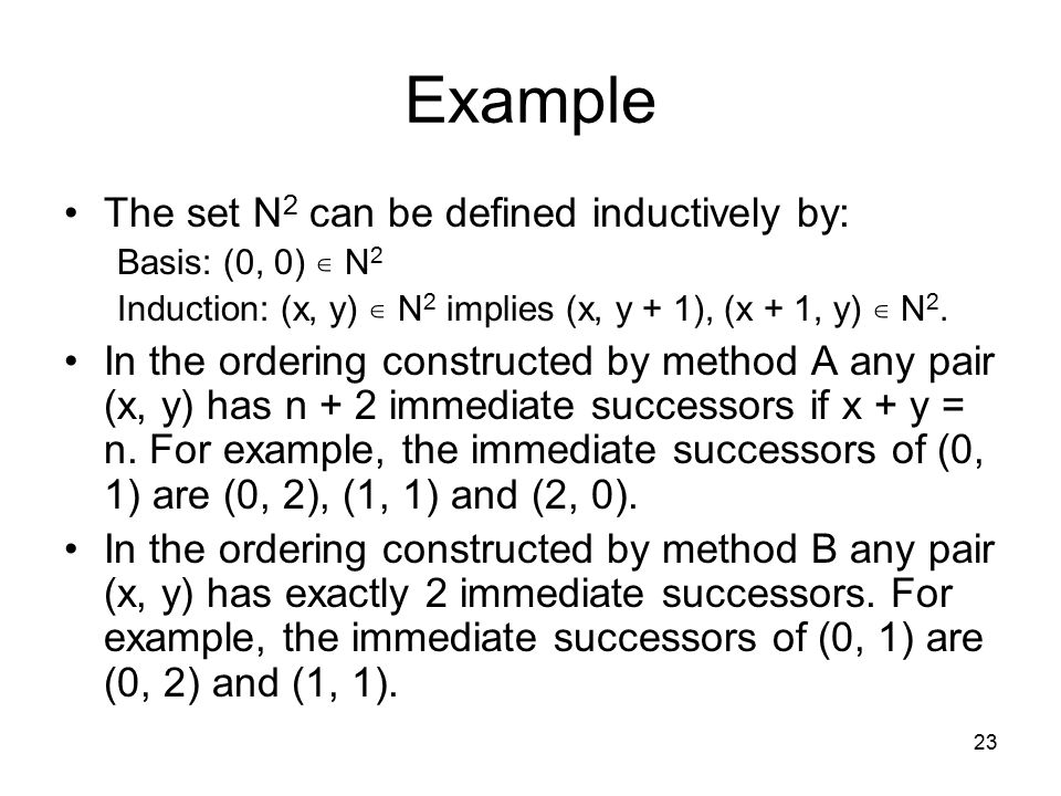 Example The set N2 can be defined inductively by: