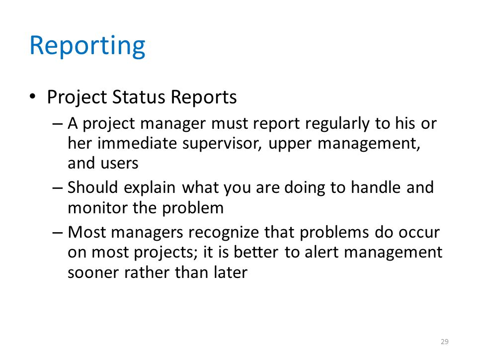Reporting Project Status Reports